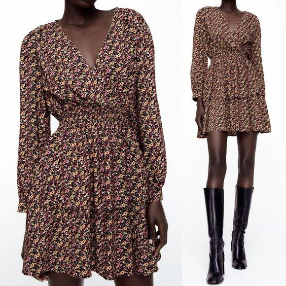 NEW Zara Ditsy Floral Surplice V Neck Ruffle Dress